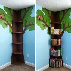 Tree Bookshelf This is simple enough. then could add fake leaves flowers fairy lights etc The post Tree Bookshelf This is simple enough. then could add fake leaves flowers fairy lights etc appeared first on Children's Room. Flower Fairy Lights, Tree Bookshelf, Bookshelf Ideas, Tree Shelf, Kids Book Shelves, Bedroom Bookshelf, Bookshelf Design, Tree Wall, Book Racks For Kids