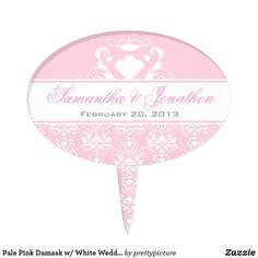 Pale Pink Damask w/ White Wedding Cake Topper