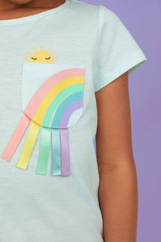 Diy Pinata Discover Jersey Top with Appliqué - Light turquoise/rainbow - Kids Little Girl Fashion, Little Girl Dresses, Kids Fashion, Kids Book Series, Rainbow Outfit, Girl Trends, Bookmarks Kids, Kids Prints, Kids Wear