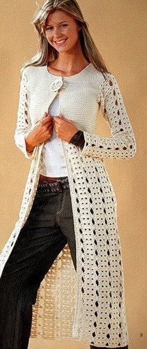 ELEGANT spring / summer women long  crochet cardigan by AsDidy, $320.00