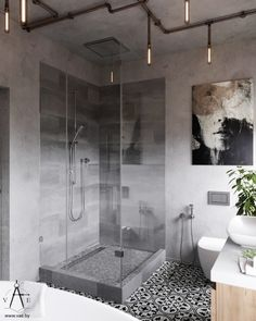Bathroom Inspiration // Loft is all you needThe Perfect Scandinavian Style Home Industrial Bathroom Design, Bathroom Design Small, Bathroom Interior Design, Modern Bathroom, Industrial Style, Master Bathroom, Industrial Lighting, Bathroom Images, Bathroom Designs