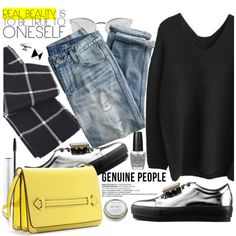 Street Style by pokadoll on Polyvore featuring moda, J.Crew, Acne Studios, Delfina Delettrez, Fendi, MAC Cosmetics, CB2, OPI, women's clothing and women's fashion