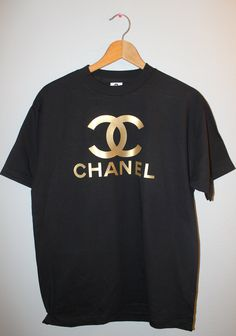 chanel gold black T