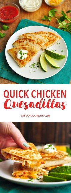 Quick Chicken Quesadillas Recipe. A quick, cheesy and easy lunch or dinner that can often be made from leftovers you already have!