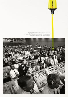 Stabilo Boss Print Advert By DDB: Highlight the Remarkable - Katherine Guerilla Marketing, Street Marketing, Clever Advertising, Print Advertising, Advertising Campaign, Social Campaign, Street Style Photography, Katherine Johnson, Ad Of The World