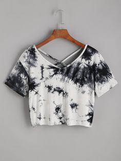 1a3131c6ee5254 Shop Tie Dye Criss Cross Back Crop T-shirt online. ROMWE offers Tie Dye  Criss Cross Back Crop T-shirt   more to fit your fashionable needs.