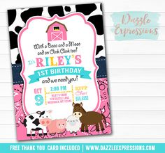 Printable Pink Barnyard Birthday Invitation | Farm Animals | Girl Petting Zoo Party | Country Barn Invitation | Cow Print | Horse, Cow, Pig, Sheep | Cupcake Toppers | Favor Tag | Thank You Card | Banner | Food Labels | Sign | Party Package Decorations