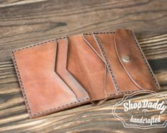 Leather Wallet Man wallet Small Wallet Gift for him by ShopDaddy