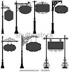 Signage Shop Sign Route Pole Information Frame Direction Plate Ornate Banner - stock photo