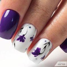 Nail Art Designs 💅 - Cute nails, Nail art designs and Pretty nails. Ongles Gel Violet, Nail Art Violet, Purple Nail Art, Purple Nails With Design, Purple Nail Designs, Flower Nail Designs, Flower Nail Art, Nail Designs Spring, Nail Flowers