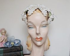 Vintage 1950s Hat with White Flowers - Bride, Wedding, fits any size head