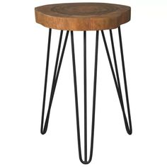 Eversboro Solid Wood Accent Table with Hairpin Legs by Signature Design by Ashley at Northeast Factory Direct Chair Side Table, End Tables, Dining Chair, Wood And Metal, Solid Wood, Black Metal, Wooden Tops, Wood Accents, Signature Design