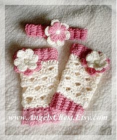 Eggshell with Flowers Leg Warmers and Headband - Newborn to 3T - hand crochet