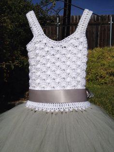 Platinum flower girl tutu dress crochet tutu dress toddler by Qt2t
