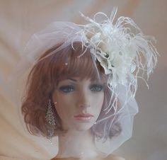 Bridal Hair Fascinator,Teardrop White Blusher,White Hydrangea Flower Bridal Fascinator,Ostrich Feather Bridal Fascinator by IrmasElegantBoutique on Etsy