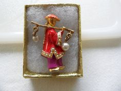 Vintage Figural Brooch Chinese Brooch Water Carrier Chinoiserie Asian Jewelry Enamel Brooch 1960s Jewelry Chinese Jewelry Asian Figurine