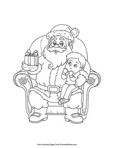 Christmas Coloring Page Boy Sitting On Santas Lap Printable PagesFree