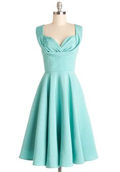 This dress reminds me of one of the dresses that Ariel wears! It is Aisle Be There Dress in Aqua, #ModCloth