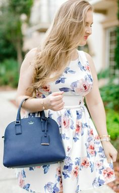 How to get Kate Spade and Tory Burch items for the lowest prices on @ebay + a preppy spring outfit idea that's perfect for summer with Orlando, Florida, fashion blogger Ashley Brooke Nicholas! #ebay #fillyourcartwithcolor #founditonebay #ad #katespade #to