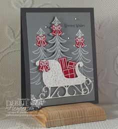 Merry Monday Challenge 222 using Stampin' Up! Santa's Sleigh and Christmas Magic Debbie Henderson, Debbie's Designs. Christmas Cards 2017, Homemade Christmas Cards, Stampin Up Christmas, Christmas Paper, Xmas Cards, Handmade Christmas, Homemade Cards, Holiday Cards, Christmas Ideas
