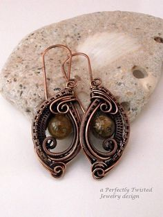 sold! Wire Wrapped Earrings Green Garnet and Copper by PerfectlyTwisted