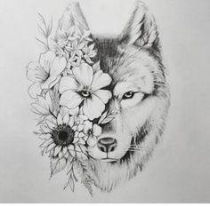 Wolf tattoo - tatoo feminina - Tattoo World Kunst Tattoos, Tattoo Drawings, Art Drawings, Tattoo Sketches, Wolf Drawings, Tattoos To Draw, Wolf Tattoo Design, Wolf Design, Cute Tattoos