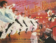 vintage advertising posters | Antique French advertising print - MOULIN ROUGE Paris French Cancan ...