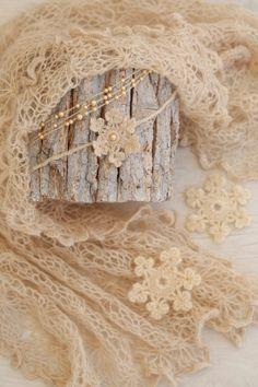 SET Knit Newborn Beige Cream Wrap & 2 Handmade Pearls and Crochet SnowflakeTiebacks / Matching Baby Blanket Set / Newborn Photography Props by SoftButterflyKiss on Etsy