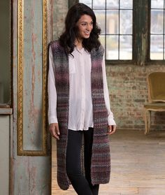 Top-Down Long Vest Free Knitting Pattern in Red Heart Yarns