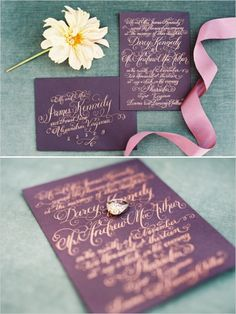 Purple paper with gold writing.