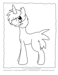 Unicorn Coloring Pages for Kids FREE to print at www.wonderweirded-creatures.com/unicorn-coloring-pages-for-kids.html, from Echo's Fantasy Coloring PAges Collection, Unicorn Outline FREE unicorn printables