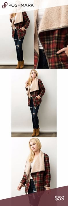 Shearling Fur Lined Plaid Jacket Coat Red Mix Shearling Fur Lined Plaid Jacket Coat Red Combo Wide Open Lapel  Features:  mid-weight polyester soft, faux fur shearling lining pockets hand wash for best care, dry clean  Measurements, laying flat (inches):  Bust:  20 Small, 21 Med, 22 Large Length:  28, 28.5, 29 Jackets & Coats