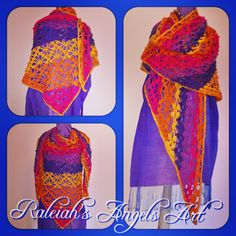 """Rainbow Shawl"", 280 x 120cm, crocheted acrylic Yarn: CAD 130.- (+ shipping fee)... Soon in many other colours... © Raleiah's Angels Art Creations @www.raleiahs-angels.com New Darlings, Nature Spirits, Yarn Shop, Angel Art, Shawl, Angels, Art Gallery, Rainbow, Colours"