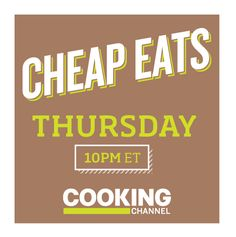 #CheapEats returns to Thursday nights starting December 1st with ALL NEW EPISODES @cookingchannel December 1st, Thursday Night, Cooking, Kitchen, Brewing, Cuisine, Cook