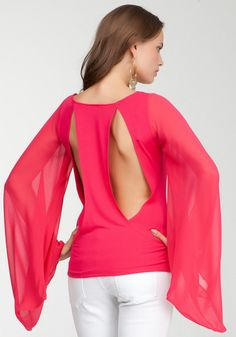 Bebe-Sheer Chiffon Kimono Sleeve Top (Awesome shirt!!!! FMTK)
