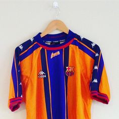 You couldn't miss barca in 1997/98 - this colourful away shirt is newly added. Link in bio to make it yours! #barca #Barcelona #kappa #laliga #spain #spanishfootball #football #footballshirt #retro #retroshirt #retrofootball #vintage #vintagefootball #vintagesportswear #90s #90sfootball #90ssportswear #vintagekappa #classickit #europe #europeanfootball