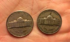 """I'm holding a regular Jefferson nickel on the left. On the right is a wartime nickel. See the large """"P"""" mintmark over Monticello? Valuable Pennies, Valuable Coins, Old Coins Value, Coin Jar, Old Coins Worth Money, American Coins, American History, European History, Error Coins"""