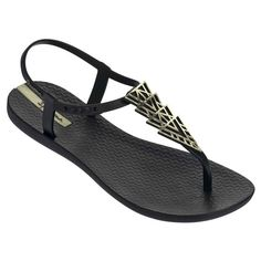 THE BRAZILIAN SANDAL From Rio de Janeiro. Inspired by Ipanema, one of the world`s most exotic beaches in Rio and made in Brazil. You will see Ipanema sandals on celebrities such as Angelina Jolie, Halle Berry, Kate Hudson andAshton Kutcher. Gold Flat Sandals, Ankle Wrap Sandals, T Strap Sandals, Shoes Sandals, Gold Flats, Fly Shoes, Strappy Sandals, Black And Gold Shoes, Black Flats Shoes