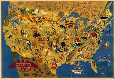 Map of American Folk Legends, 1946 ~ good enough reason for a road trip!