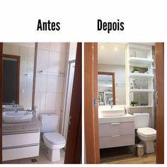 Inspiração!  Antes e depois  #inspiracao #instahome #inspirational #decorado #decor #instadecor #planejado #decorado #apto #banheiro