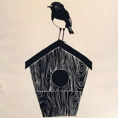 Robin & Birdhouse - Cushion - Paperbird Society - Designers - Online Gift Shop - NewZealand Design & Gifts - Buy NZ Made Presents