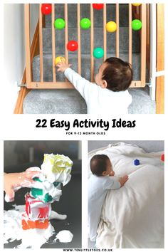 Here are 22 easy activity ideas that will help your baby& development. These fun activities are suitable for 9 to and require little prep! The ideas include sensory play and build on babies physical skills - fine motor and gross motor skills. 9 Month Old Baby Activities, Baby Learning Activities, Infant Sensory Activities, Baby Sensory Play, Montessori Activities, Baby Play, Fun Activities, Activity Ideas, Montessori Toddler