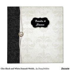 Chic Black and White Damask Wedding Album Binder