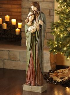 """""""Holy Family Nativity"""" - from Kirkland's; This resin statue with a wood-carved look is bigger than you think: tall x long. Nativity Creche, Christmas Nativity Scene, Christmas Bells, Christmas Holidays, Christmas Crafts, Christmas Decorations, Christmas Ornaments, Nativity Scenes, All Things Christmas"""