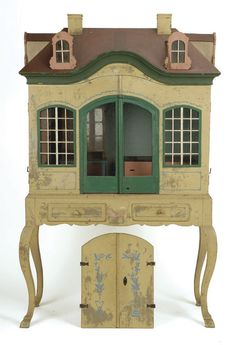 antique doll's house I like the idea of attaching a dollhouse to an old vanity and painting them both the same color