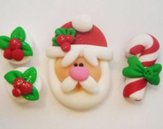 Mini wt Set Spacer - Santa - Polymer Clay charme perle Scrapbooking Embelishment Bow Center pendentif Cupcake Topper