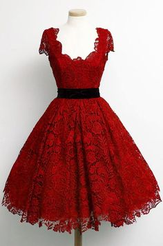 Charming Dark Red Lace Prom Party Dress