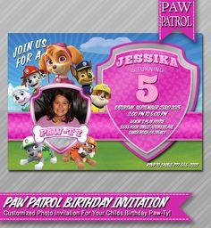 Skye Paw Patrol Invitation - Personalized Girls Photo Paw Patrol Birthday Party Invite - Skye Chase Rubble Marshall Rocky by WolcottDesigns on Etsy