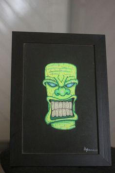 Mask Kiwi - Nanquim, posca