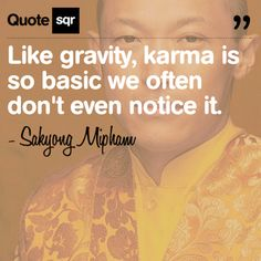 Like gravity, karma is so basic we often don't even notice it. - Sakyong Mipham #quotesqr